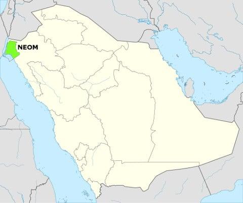 La ciudad de Neom se encuentra en la provicia de Tabuk, en el noroeste de Arabia Saudí