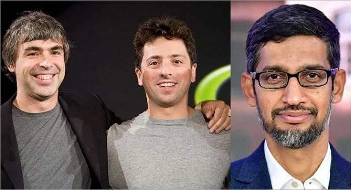 Larry Page y Sergey Brin, fundadores de Google. Sundar Pichai, nuevo CEO de Alphabet.