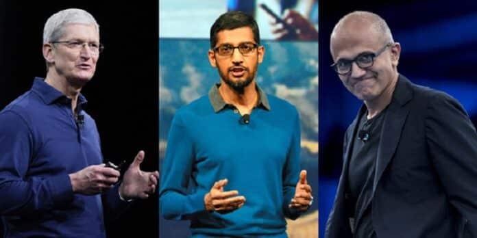 Tim Cook (Apple), Sundar Pichai (Alphabet) y Satya Nadella (Microsoft)