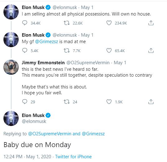 Tweet de Elon Musk asegurando que espera un hijo con su novia Grimes
